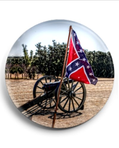 Confederate Battle Flag and Cannon button