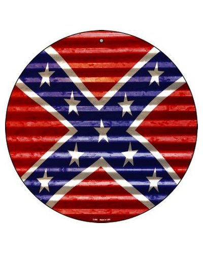 Confederate Battle Flag (corrugated effect) circular metal sign