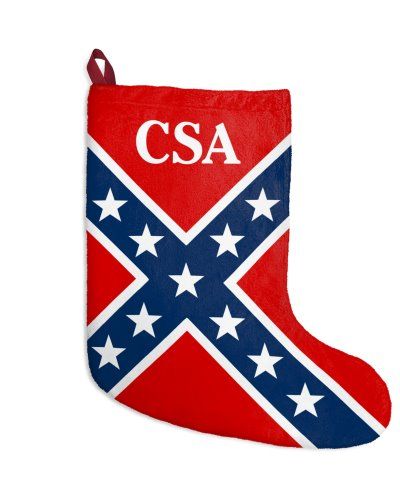 CSA Confederate Battle Flag plush fleece Christmas stocking