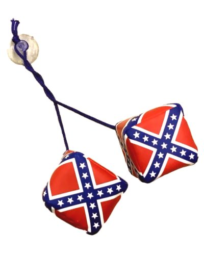 Confederate Battle Flag rear view mirror hanging dice
