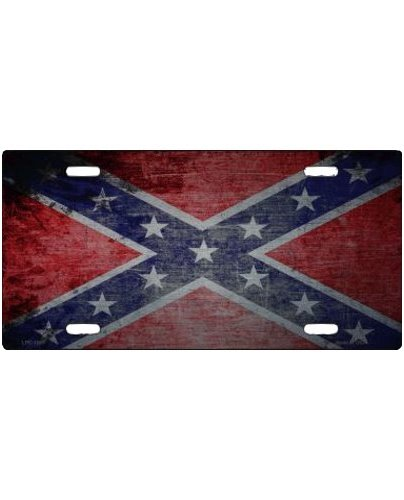 Confederate Battle Flag scratched chrome car tag