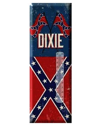 Dixie Crossed Confederate Flags metal thermometer
