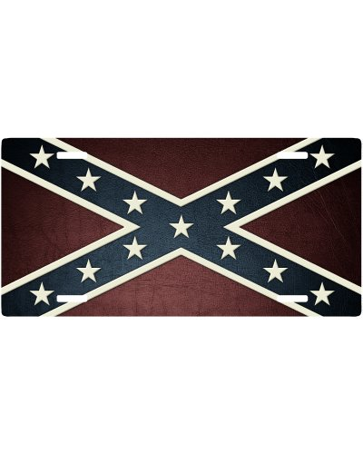 Leather Texture Confederate Battle Flag car tag
