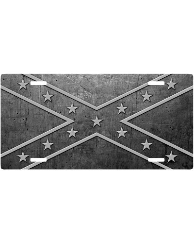 Scratched Steel Confederate Battle Flag car tag