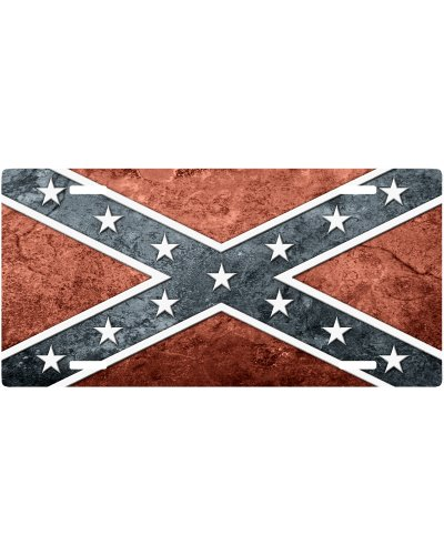 Stucco Confederate Battle Flag car tag