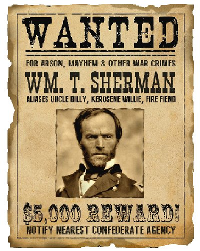 Wanted For War Crimes (Sherman) postcard magnet